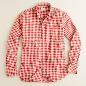 Men's J. Crew Red Gingham Washed Button-Down Shirt